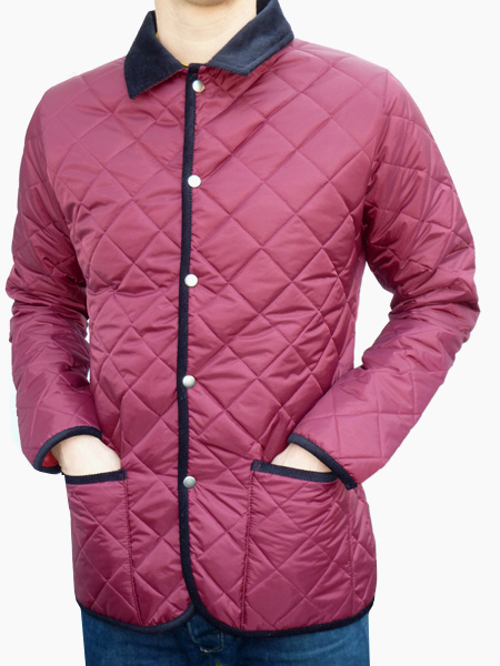 Bosworth Quilted Jacket Burgundy With Navy Cord Trims