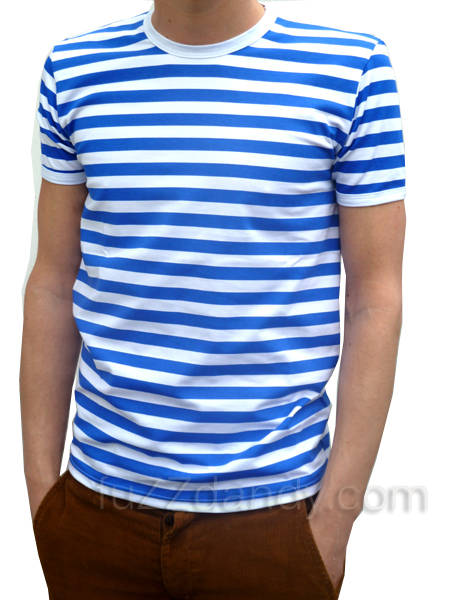 Mens Stripey Tee blue & white t-shirt