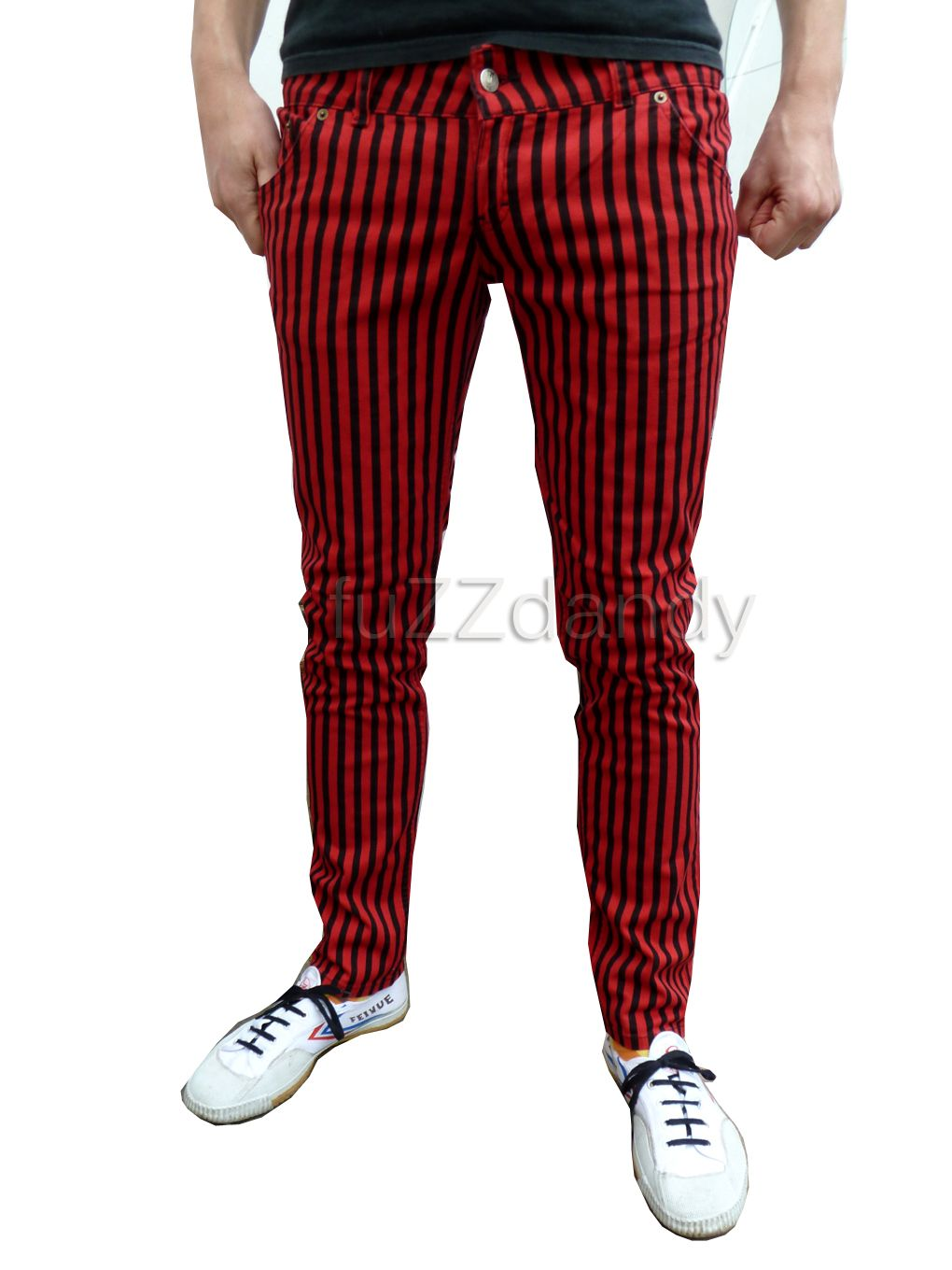 Ronnie - Super Skinny Jeans red & black stripe