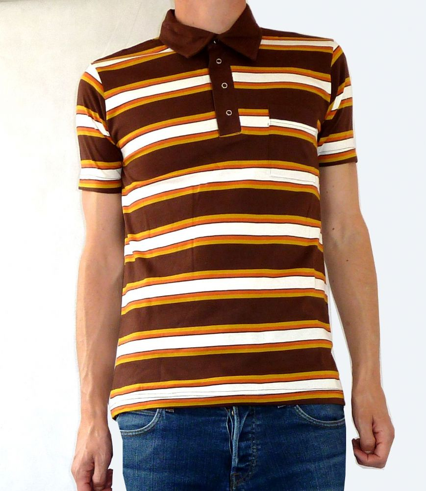 Striped Polo Tee Button Up T Shirt Brown Yellow