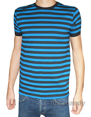 Striped Tee T Shirt Navy Blue & Black