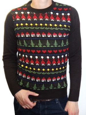 """House"" Fair Isle jumper (brown christmas)"