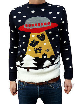 """UFO Santa"" Space Themed Christmas Jumper (Navy)"