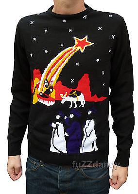 Christmas Nativity 2 - Our Superior Quality Jesus Nativity Jumper Made from Italian Yarn (Black)