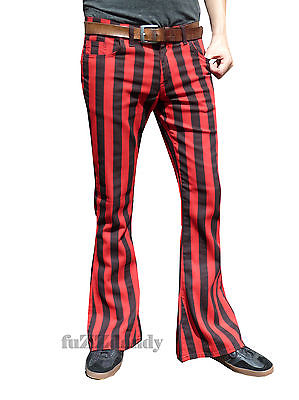 Classic PATTERNED Flares - Stripey Bell Bottom Trousers (RED & BLACK STRIPES) George Harrison