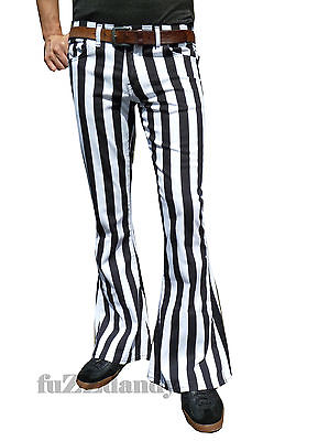 Classic PATTERNED Flares - Stripey Bell Bottoms Flares Trousers (WHITE & BLACK STRIPES)