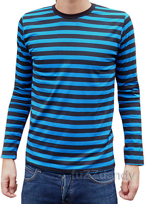 Mens Long Sleeved Top Tee Striped (Navy Blue   Black) . 7653d9b38f4