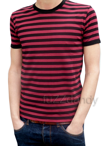 Mens Stripey Tee (burgundy & black t-shirt)
