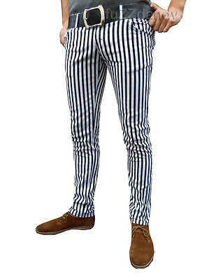 Ronnie - Pinstripe Drainpipes Trousers (White & Black)