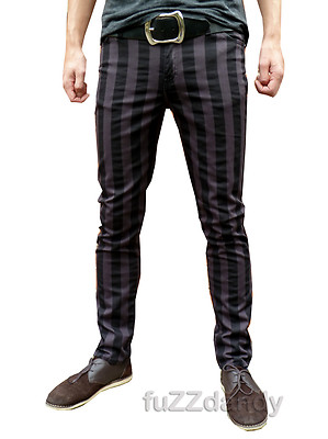 Ronnie - Skinny Hipster thick Striped Trousers (Grey & Black)