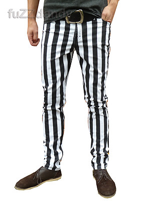 Ronnie - Skinny Thick Striped Hipster Trousers (White & Black)