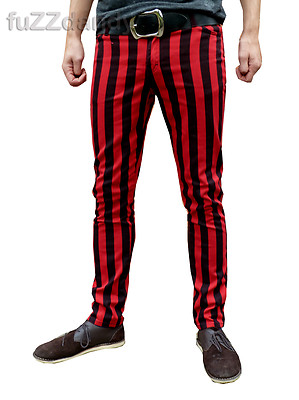 Ronnie - Striped Skinny Hipster Trousers (Red & Black Thick Stripes)