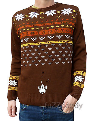 Snow Invaders - Retro 80's Games Console Shooter Christmas Jumper (Brown)
